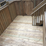 Wood patio steps