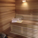 Traditional wood sauna